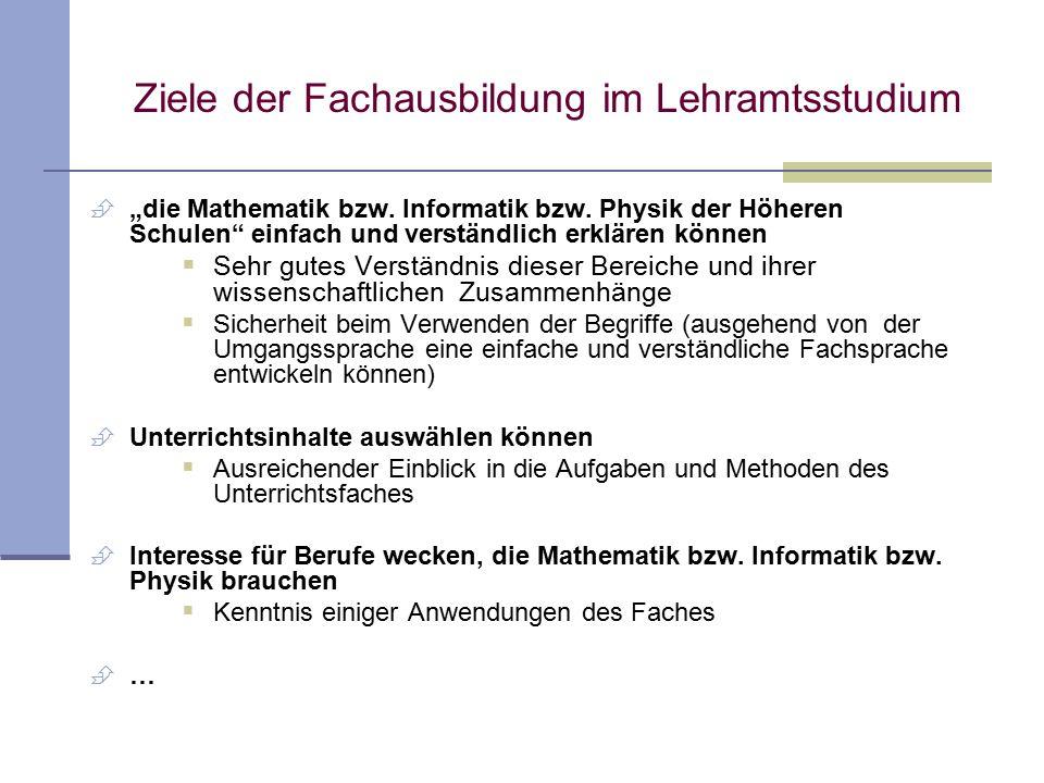 """Ziele der Fachausbildung im Lehramtsstudium  """"die Mathematik bzw."""