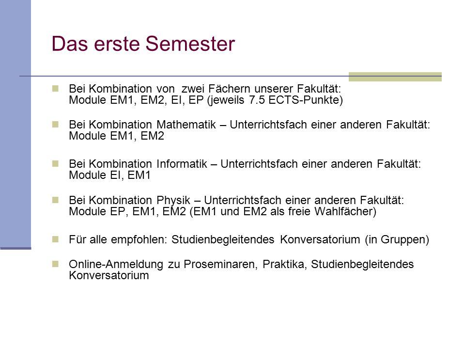 Das erste Semester Bei Kombination von zwei Fächern unserer Fakultät: Module EM1, EM2, EI, EP (jeweils 7.5 ECTS-Punkte) Bei Kombination Mathematik – U