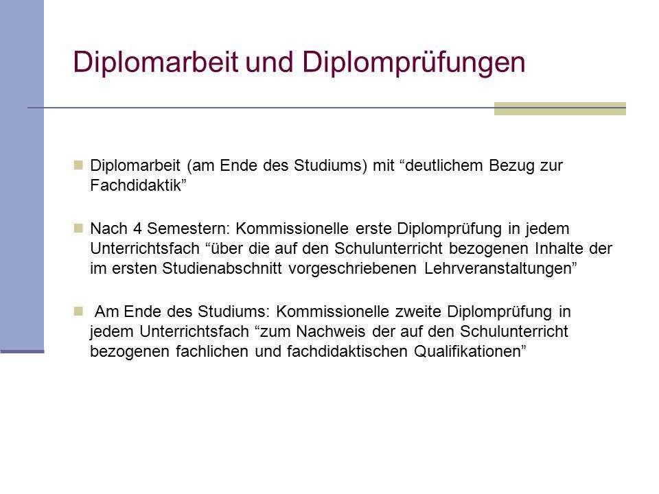 """Diplomarbeit und Diplomprüfungen Diplomarbeit (am Ende des Studiums) mit """"deutlichem Bezug zur Fachdidaktik"""" Nach 4 Semestern: Kommissionelle erste Di"""