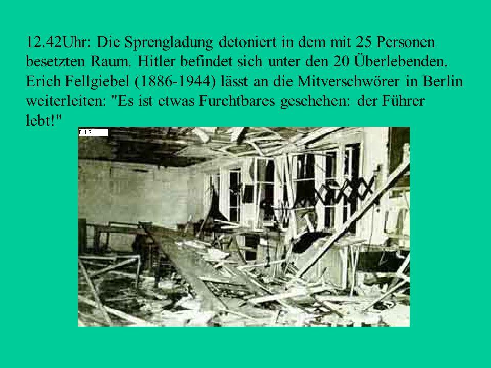 -Kurz vor 12.30 Uhr: Stauffenberg will noch schnell ein Hemd wechseln.Im Schlafgemach macht er schnell eine Bombe mit dem Säurezünder scharf. Die zwei