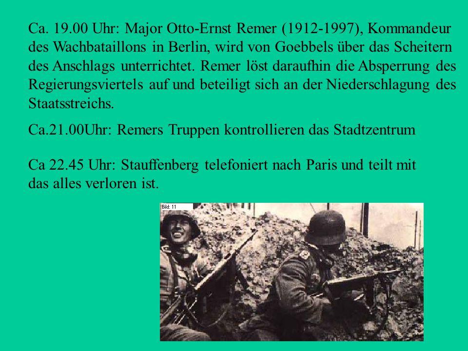 Ca. 17.00 Uhr: Auf Initiative von Hitler wird durch Joseph Goebbels im Rundfunk das Überleben Hitlers gemeldet. Fast gleichzeitig erhalten die Stabsof