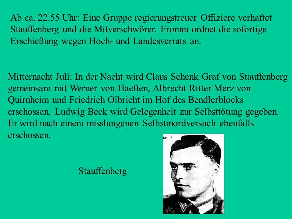 Ca. 19.00 Uhr: Major Otto-Ernst Remer (1912-1997), Kommandeur des Wachbataillons in Berlin, wird von Goebbels über das Scheitern des Anschlags unterri
