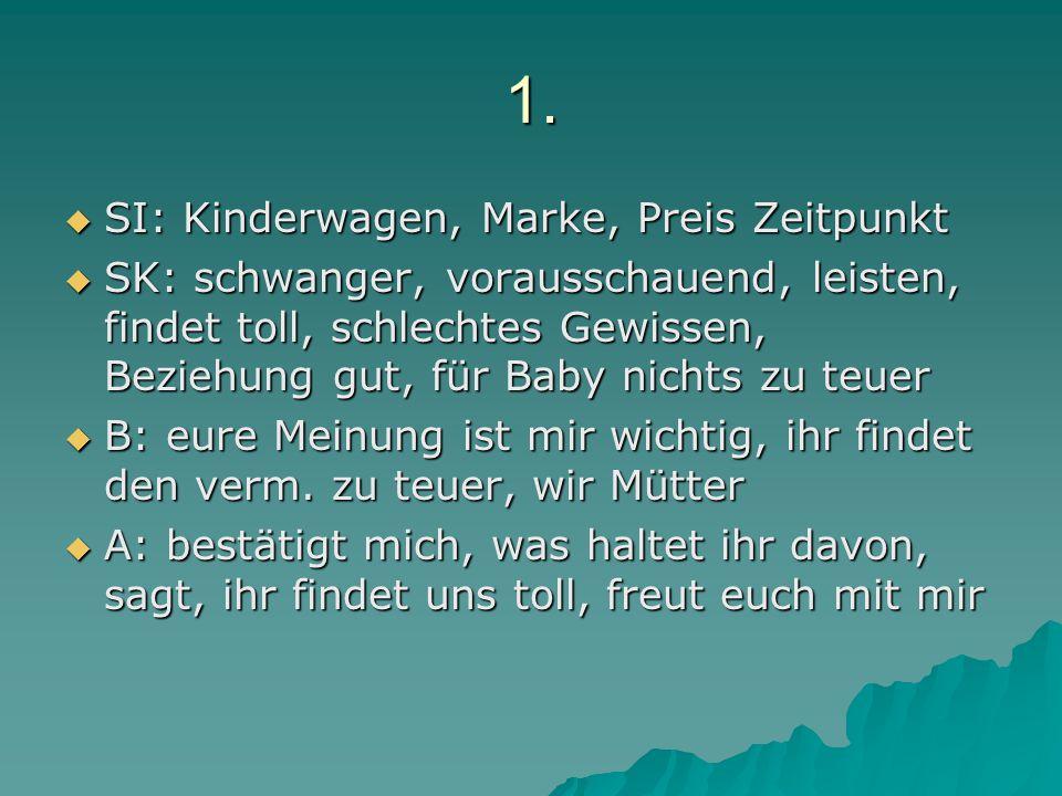 1.  SI: Kinderwagen, Marke, Preis Zeitpunkt  SK: schwanger, vorausschauend, leisten, findet toll, schlechtes Gewissen, Beziehung gut, für Baby nicht