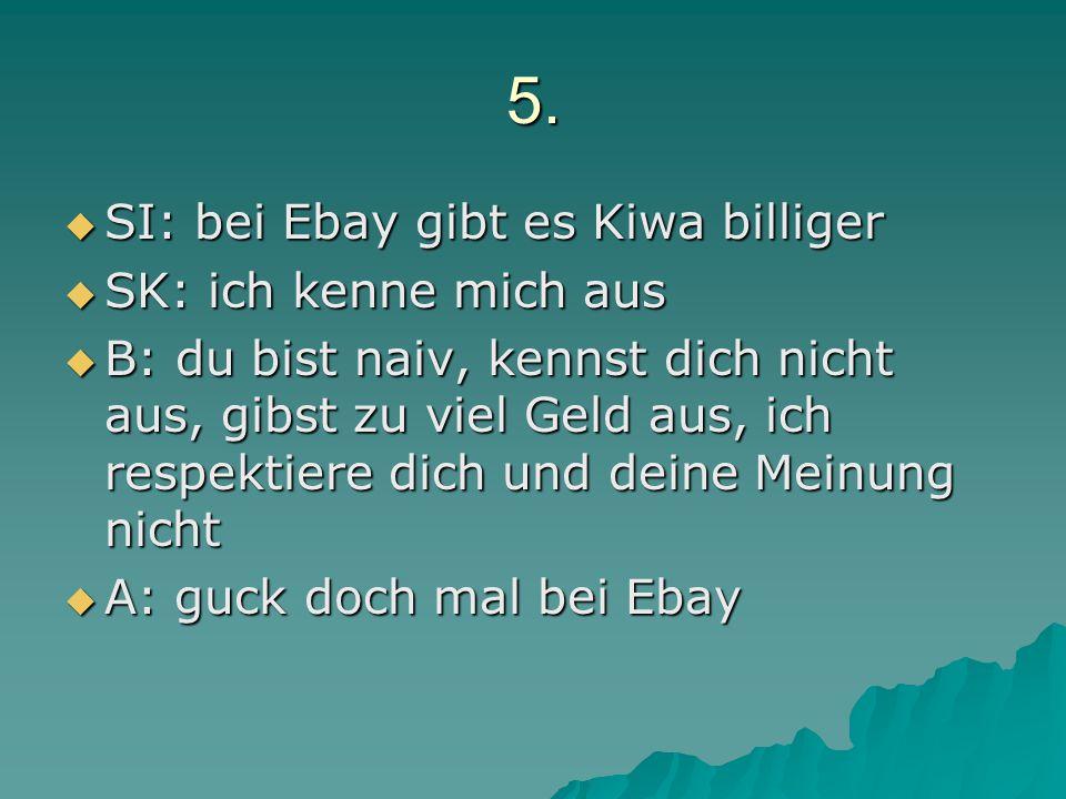 5.  SI: bei Ebay gibt es Kiwa billiger  SK: ich kenne mich aus  B: du bist naiv, kennst dich nicht aus, gibst zu viel Geld aus, ich respektiere dic
