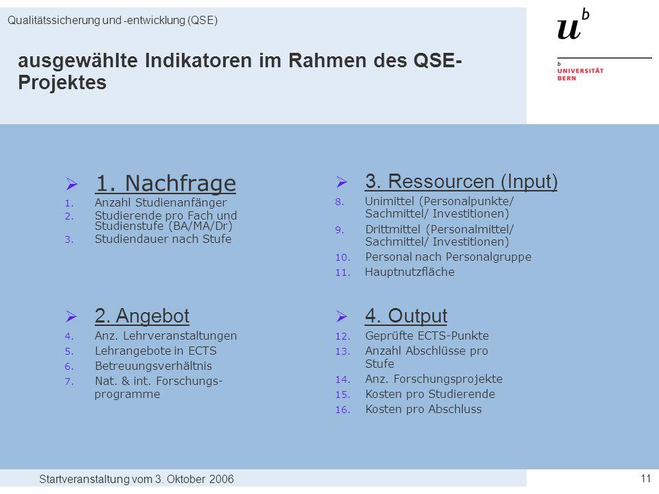 Startveranstaltung vom 3. Oktober 2006 Qualitätssicherung und -entwicklung (QSE) 11  1.