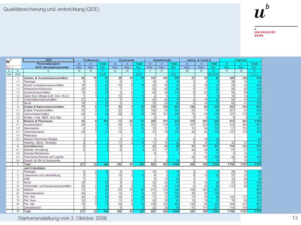 Startveranstaltung vom 3. Oktober 2006 Qualitätssicherung und -entwicklung (QSE) 13