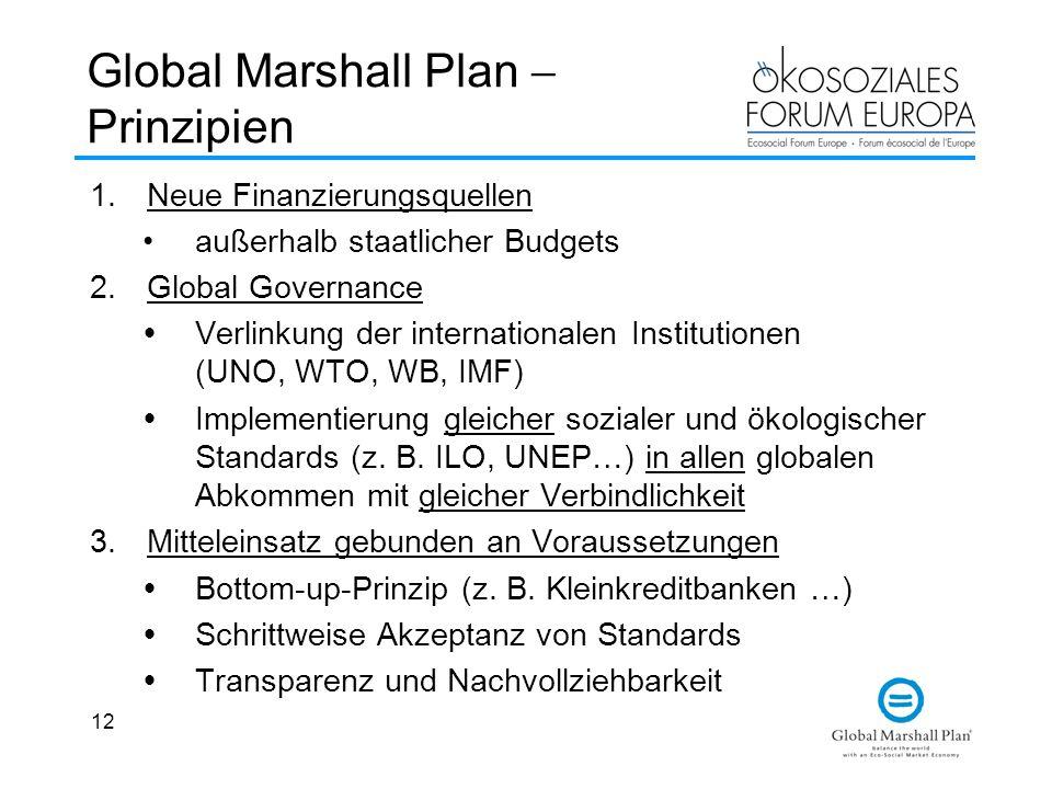 12 Global Marshall Plan  Prinzipien 1.Neue Finanzierungsquellen außerhalb staatlicher Budgets 2.Global Governance  Verlinkung der internationalen Institutionen (UNO, WTO, WB, IMF)  Implementierung gleicher sozialer und ökologischer Standards (z.