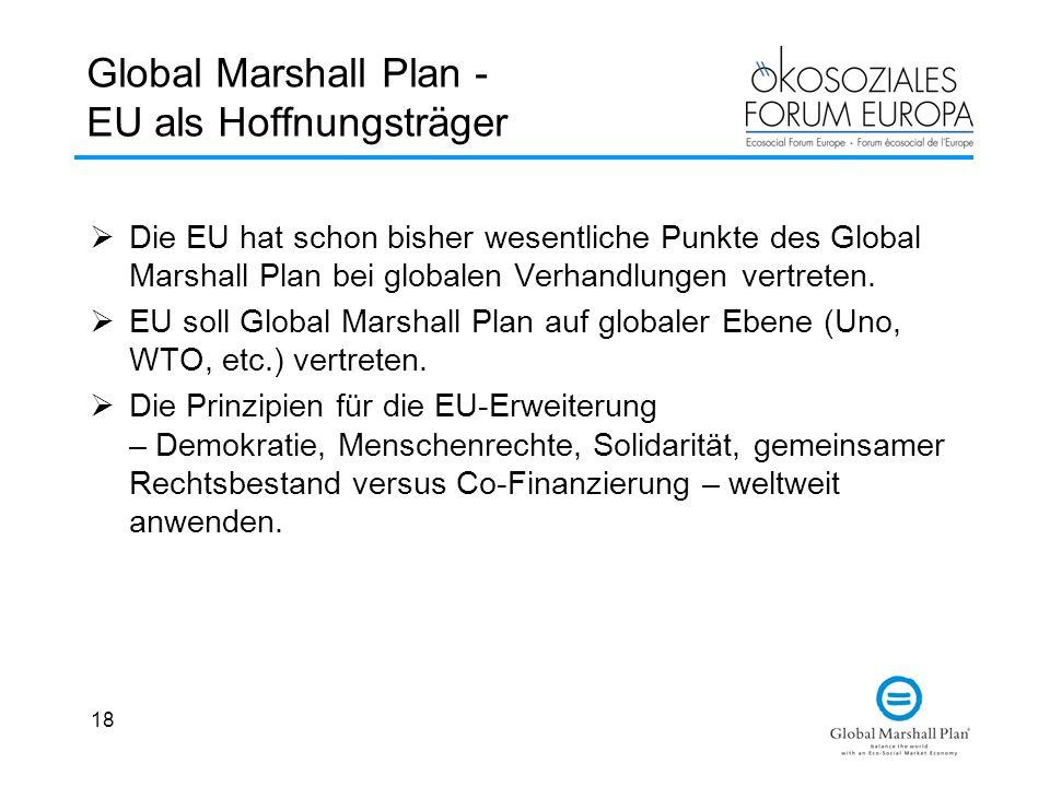 18 Global Marshall Plan - EU als Hoffnungsträger  Die EU hat schon bisher wesentliche Punkte des Global Marshall Plan bei globalen Verhandlungen vertreten.