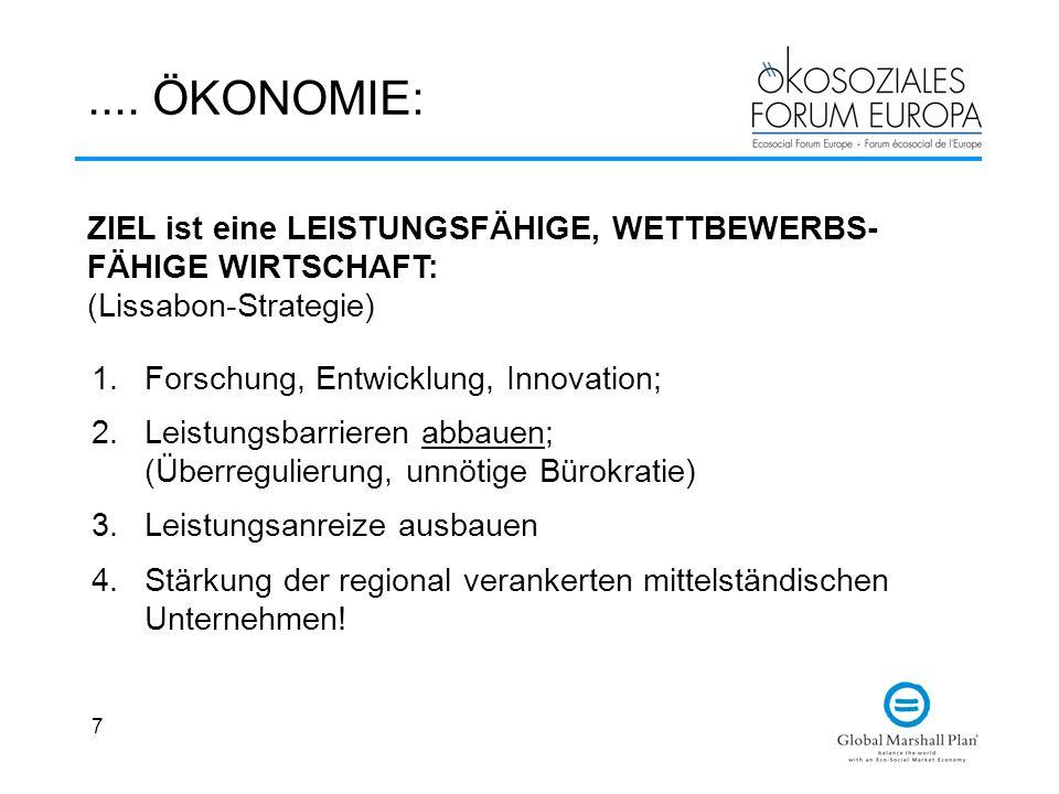 7.... ÖKONOMIE: 1.Forschung, Entwicklung, Innovation; 2.Leistungsbarrieren abbauen; (Überregulierung, unnötige Bürokratie) 3.Leistungsanreize ausbauen