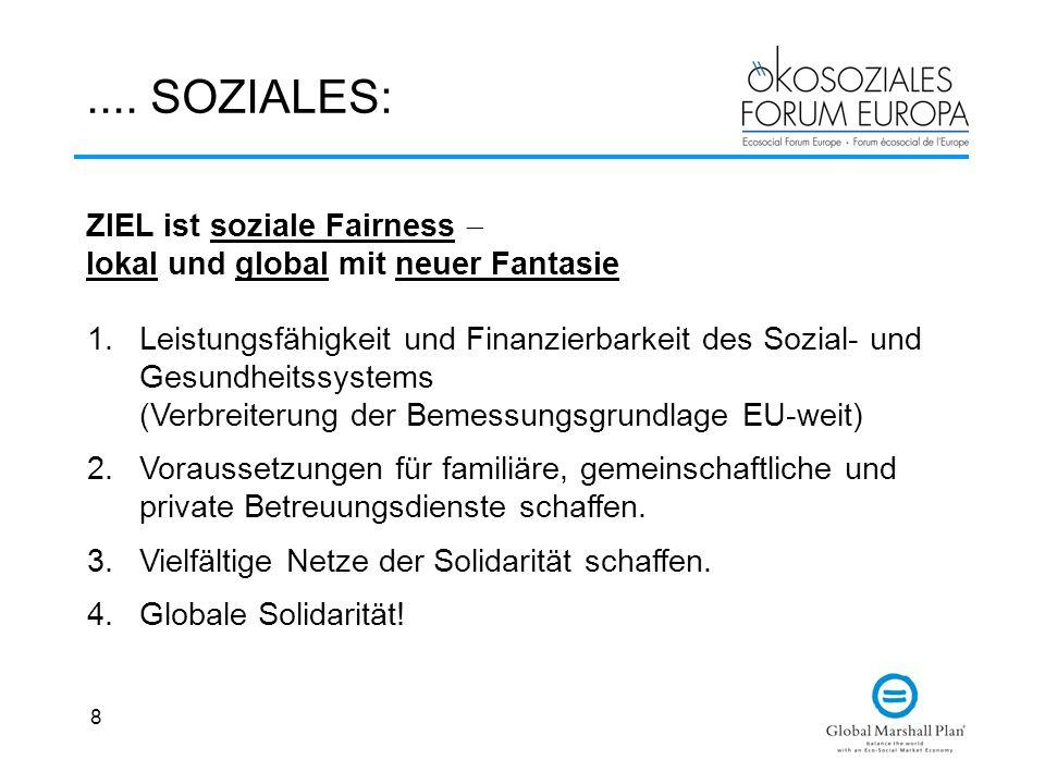 8.... SOZIALES: 1.Leistungsfähigkeit und Finanzierbarkeit des Sozial- und Gesundheitssystems (Verbreiterung der Bemessungsgrundlage EU-weit) 2.Vorauss