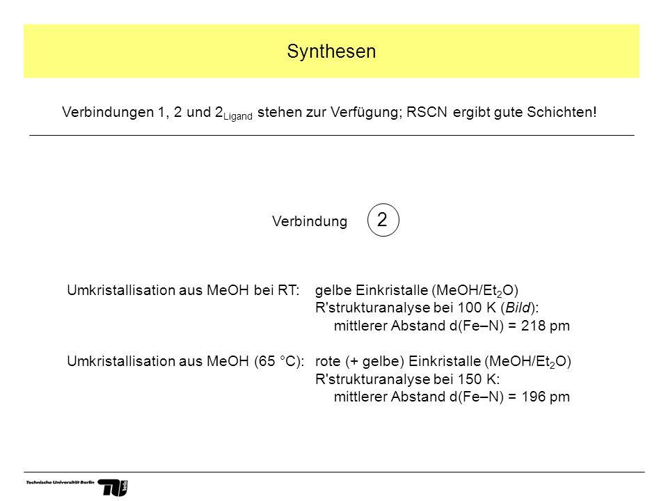 Synthesen 2 Umkristallisation aus MeOH bei RT: gelbe Einkristalle (MeOH/Et 2 O) R strukturanalyse bei 100 K (Bild): mittlerer Abstand d(Fe–N) = 218 pm Umkristallisation aus MeOH (65 °C): rote (+ gelbe) Einkristalle (MeOH/Et 2 O) R strukturanalyse bei 150 K: mittlerer Abstand d(Fe–N) = 196 pm Verbindungen 1, 2 und 2 Ligand stehen zur Verfügung; RSCN ergibt gute Schichten.