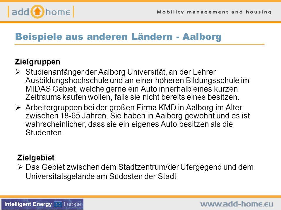 Beispiele aus anderen Ländern - Aalborg Zielgruppen  Studienanfänger der Aalborg Universität, an der Lehrer Ausbildungshochschule und an einer höheren Bildungsschule im MIDAS Gebiet, welche gerne ein Auto innerhalb eines kurzen Zeitraums kaufen wollen, falls sie nicht bereits eines besitzen.