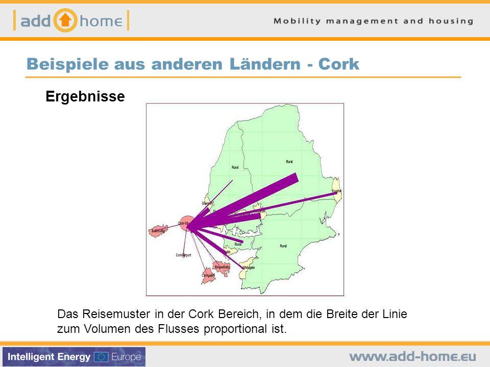 Beispiele aus anderen Ländern - Cork Das Reisemuster in der Cork Bereich, in dem die Breite der Linie zum Volumen des Flusses proportional ist.