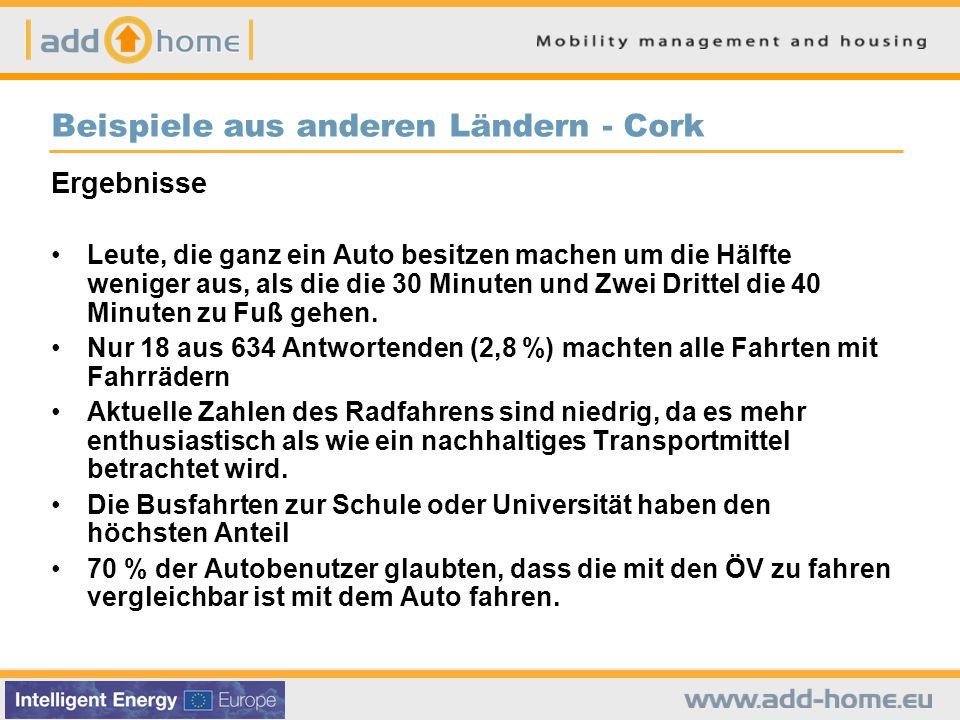 Beispiele aus anderen Ländern - Cork Ergebnisse Leute, die ganz ein Auto besitzen machen um die Hälfte weniger aus, als die die 30 Minuten und Zwei Drittel die 40 Minuten zu Fuß gehen.