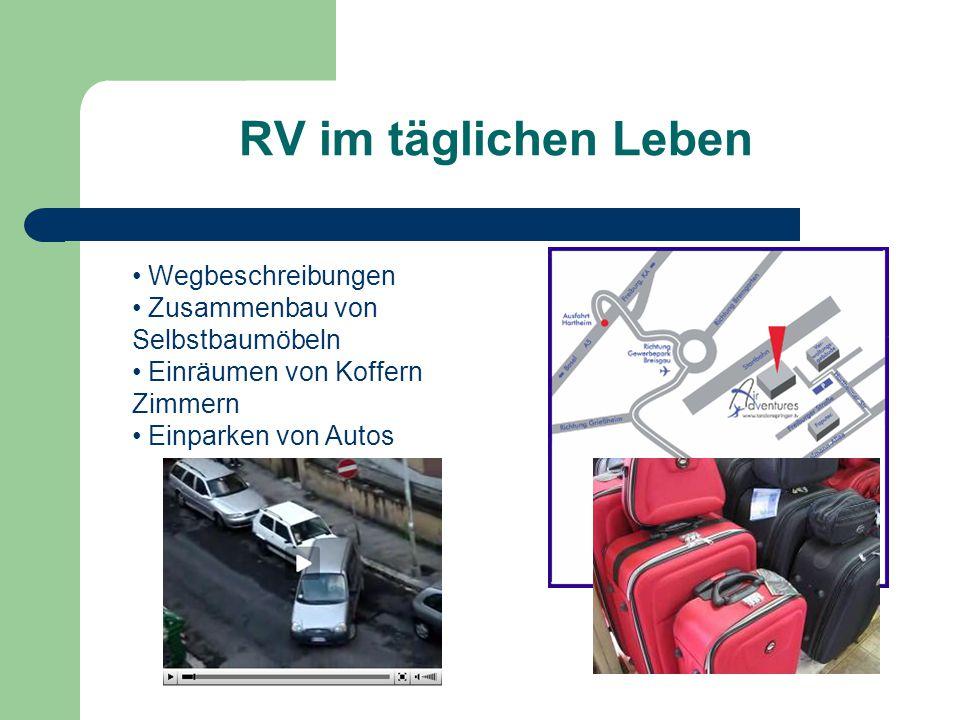 RV im täglichen Leben Wegbeschreibungen Zusammenbau von Selbstbaumöbeln Einräumen von Koffern Zimmern Einparken von Autos