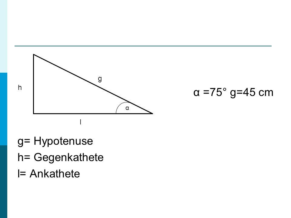 α =75° g=45 cm g= Hypotenuse h= Gegenkathete l= Ankathete g l h α