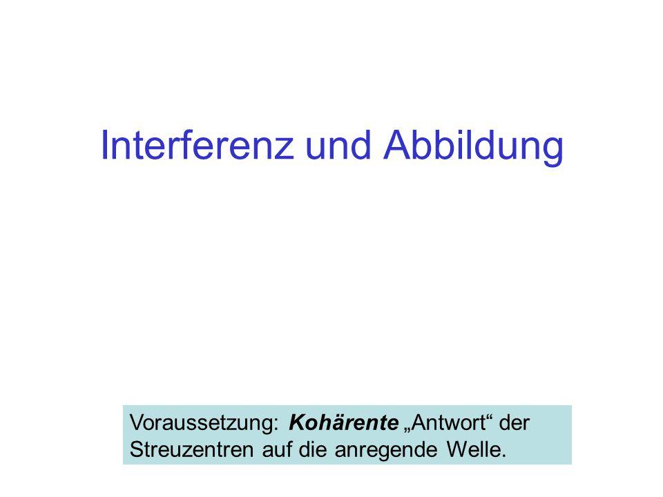 """Interferenz und Abbildung Voraussetzung: Kohärente """"Antwort"""" der Streuzentren auf die anregende Welle."""