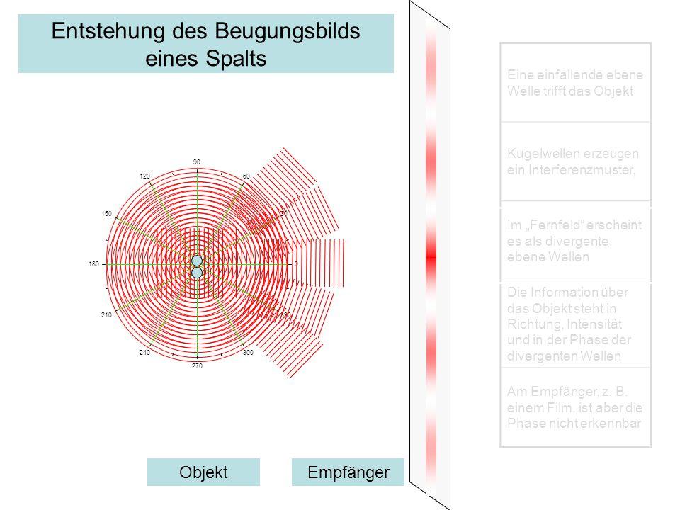 Entstehung des Beugungsbilds eines Spalts 0 30 60 90 120 150 180 210 240 270 300 330 Eine einfallende ebene Welle trifft das Objekt Kugelwellen erzeug