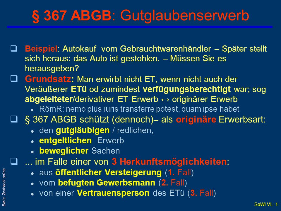 SoWi VL- 1 Barta: Zivilrecht online § 367 ABGB: Gutglaubenserwerb qBeispiel: Autokauf vom Gebrauchtwarenhändler – Später stellt sich heraus: das Auto ist gestohlen.