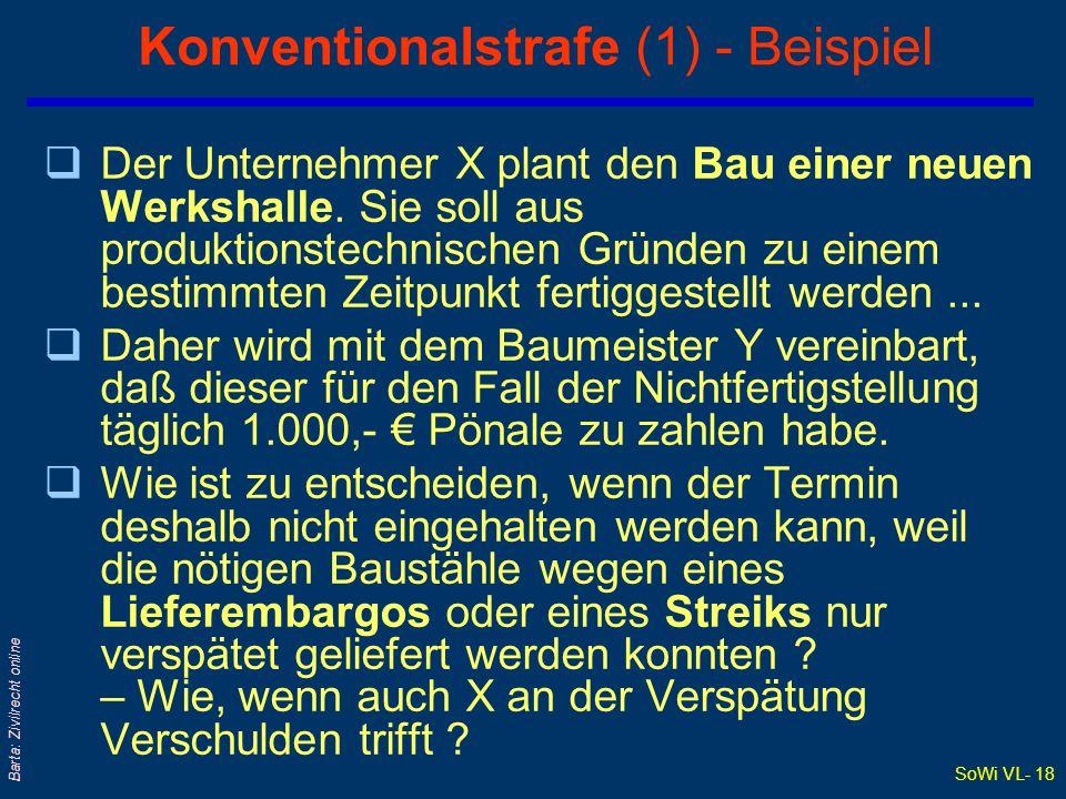 SoWi VL- 18 Barta: Zivilrecht online Konventionalstrafe (1) - Beispiel qDer Unternehmer X plant den Bau einer neuen Werkshalle.