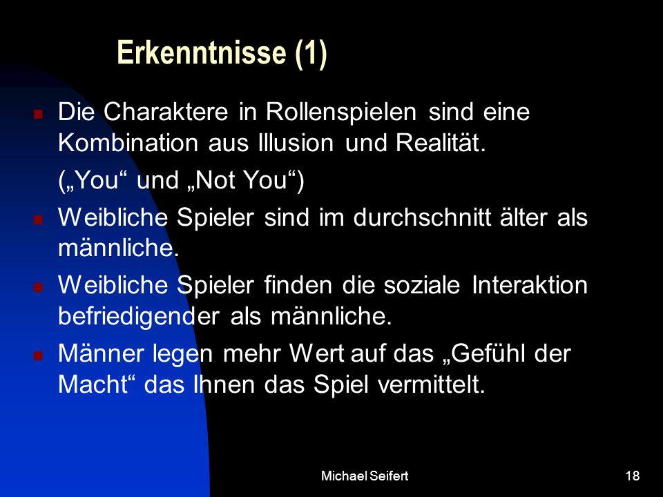 """Michael Seifert18 Erkenntnisse (1) Die Charaktere in Rollenspielen sind eine Kombination aus Illusion und Realität. (""""You"""" und """"Not You"""") Weibliche Sp"""