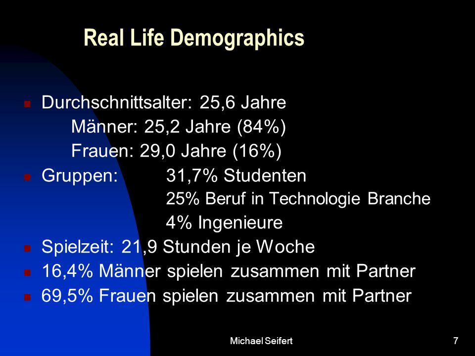Michael Seifert7 Real Life Demographics Durchschnittsalter: 25,6 Jahre Männer: 25,2 Jahre (84%) Frauen: 29,0 Jahre (16%) Gruppen:31,7% Studenten 25% Beruf in Technologie Branche 4% Ingenieure Spielzeit: 21,9 Stunden je Woche 16,4% Männer spielen zusammen mit Partner 69,5% Frauen spielen zusammen mit Partner