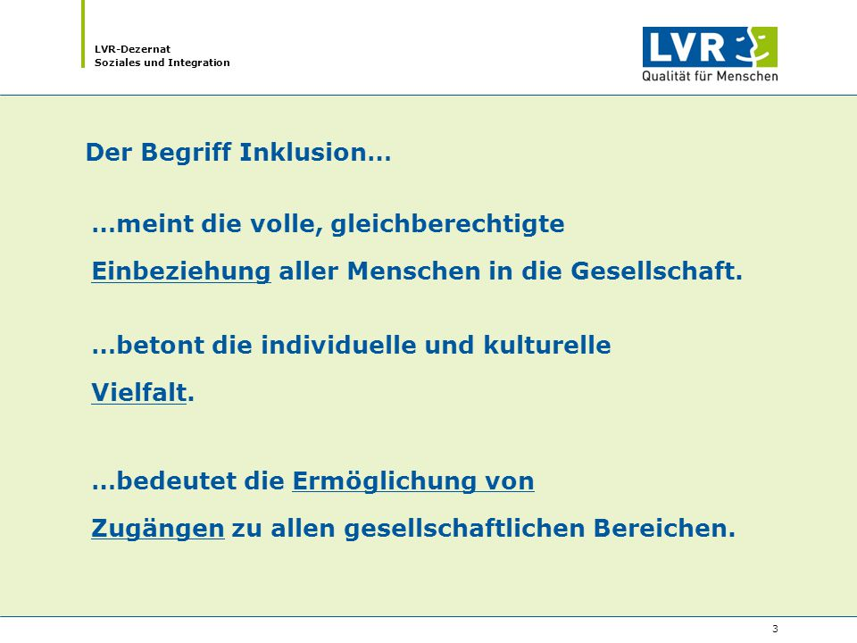 LVR-Dezernat Soziales und Integration 4 Die Zugänglichkeit aller Lebensbereiche für alle Menschen ist eine zentrale Herausforderung der Behindertenrechtskonvention der Vereinten Nationen (vgl.