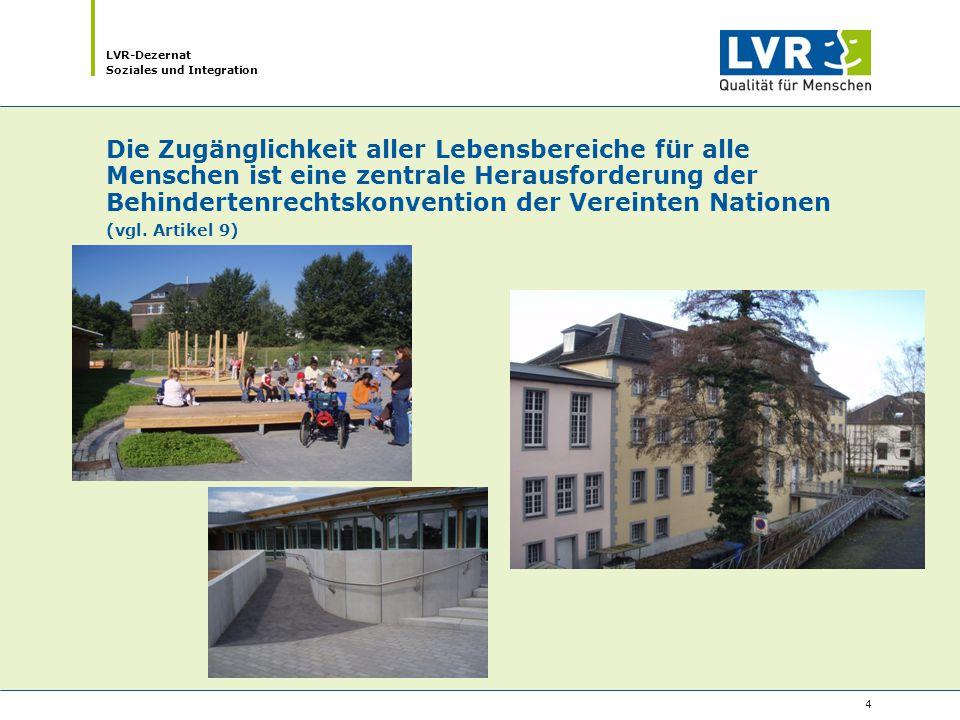 LVR-Dezernat Soziales und Integration 15 Teilhaben und Teil sein – wie die inklusive Gesellschaft entstehen kann: Der LVR … … geht mit seinen Einrichtungen und Diensten mit gutem Beispiel voran.