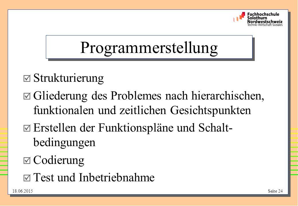18.06.2015Seite 24 Programmerstellung  Strukturierung  Gliederung des Problemes nach hierarchischen, funktionalen und zeitlichen Gesichtspunkten  E
