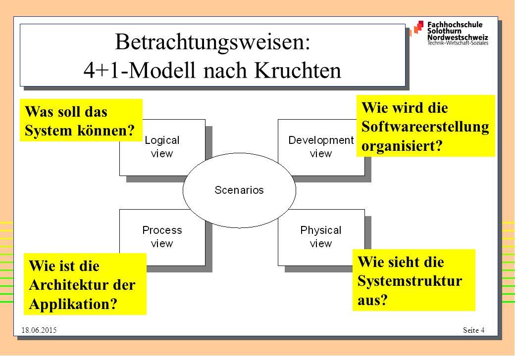 18.06.2015Seite 4 Betrachtungsweisen: 4+1-Modell nach Kruchten Was soll das System können? Wie wird die Softwareerstellung organisiert? Wie ist die Ar