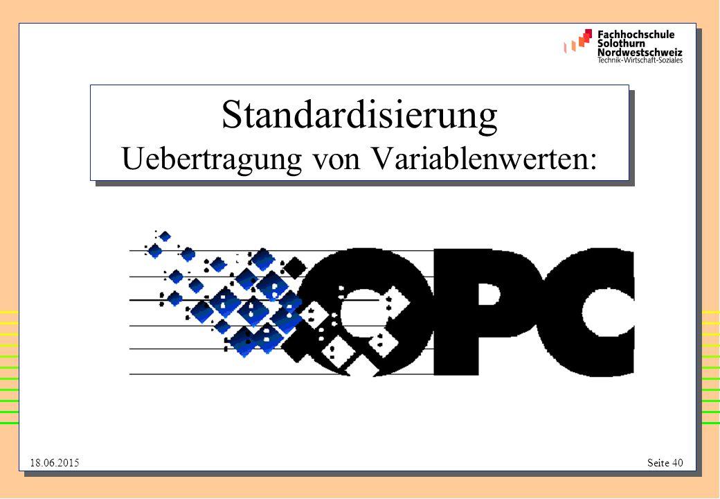 18.06.2015Seite 40 Standardisierung Uebertragung von Variablenwerten: