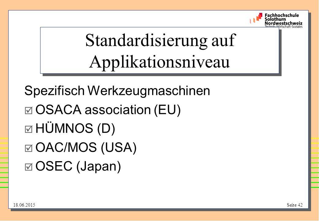 18.06.2015Seite 42 Standardisierung auf Applikationsniveau Spezifisch Werkzeugmaschinen  OSACA association (EU)  HÜMNOS (D)  OAC/MOS (USA)  OSEC (