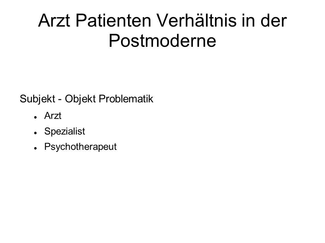 Arzt Patienten Verhältnis in der Postmoderne Subjekt - Objekt Problematik Arzt Spezialist Psychotherapeut