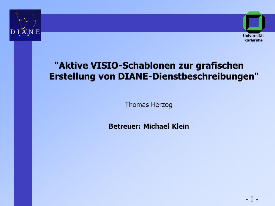 Aktive VISIO-Schablonen zur grafischen Erstellung von DIANE-Dienstbeschreibungen Thomas Herzog Betreuer: Michael Klein Universität Karlsruhe - 1 -
