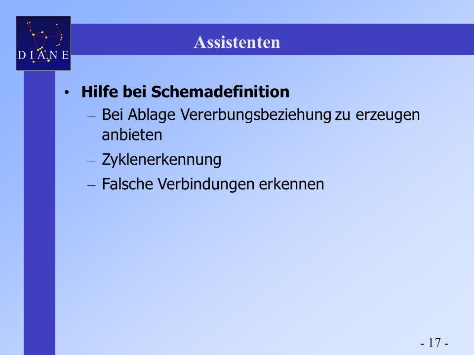 Assistenten Hilfe bei Schemadefinition – Bei Ablage Vererbungsbeziehung zu erzeugen anbieten – Zyklenerkennung – Falsche Verbindungen erkennen - 17 -