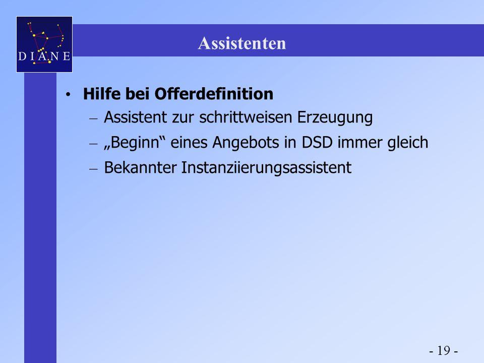 """Assistenten Hilfe bei Offerdefinition – Assistent zur schrittweisen Erzeugung – """"Beginn eines Angebots in DSD immer gleich – Bekannter Instanziierungsassistent - 19 -"""