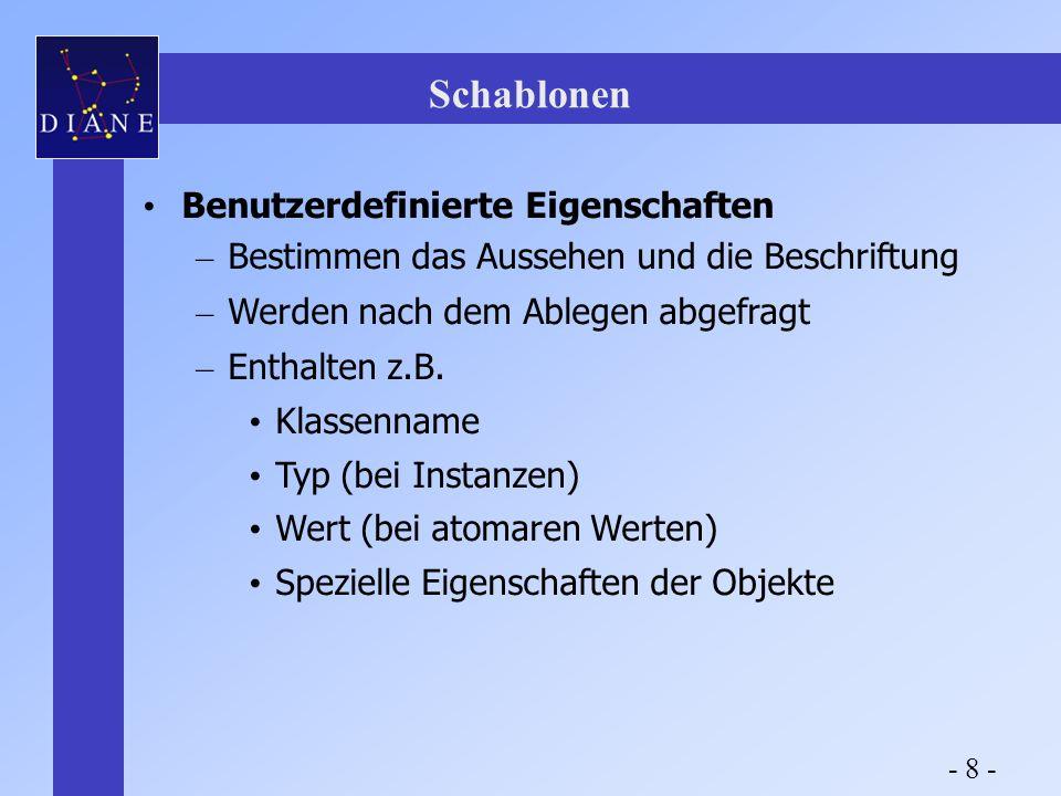 Schablonen Benutzerdefinierte Eigenschaften – Bestimmen das Aussehen und die Beschriftung – Werden nach dem Ablegen abgefragt – Enthalten z.B.