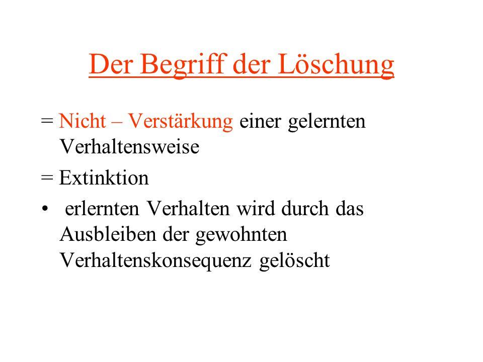 Der Begriff der Löschung = Nicht – Verstärkung einer gelernten Verhaltensweise = Extinktion erlernten Verhalten wird durch das Ausbleiben der gewohnte