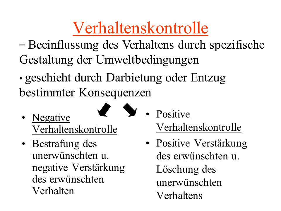 Verhaltenskontrolle Negative Verhaltenskontrolle Bestrafung des unerwünschten u. negative Verstärkung des erwünschten Verhalten Positive Verhaltenskon