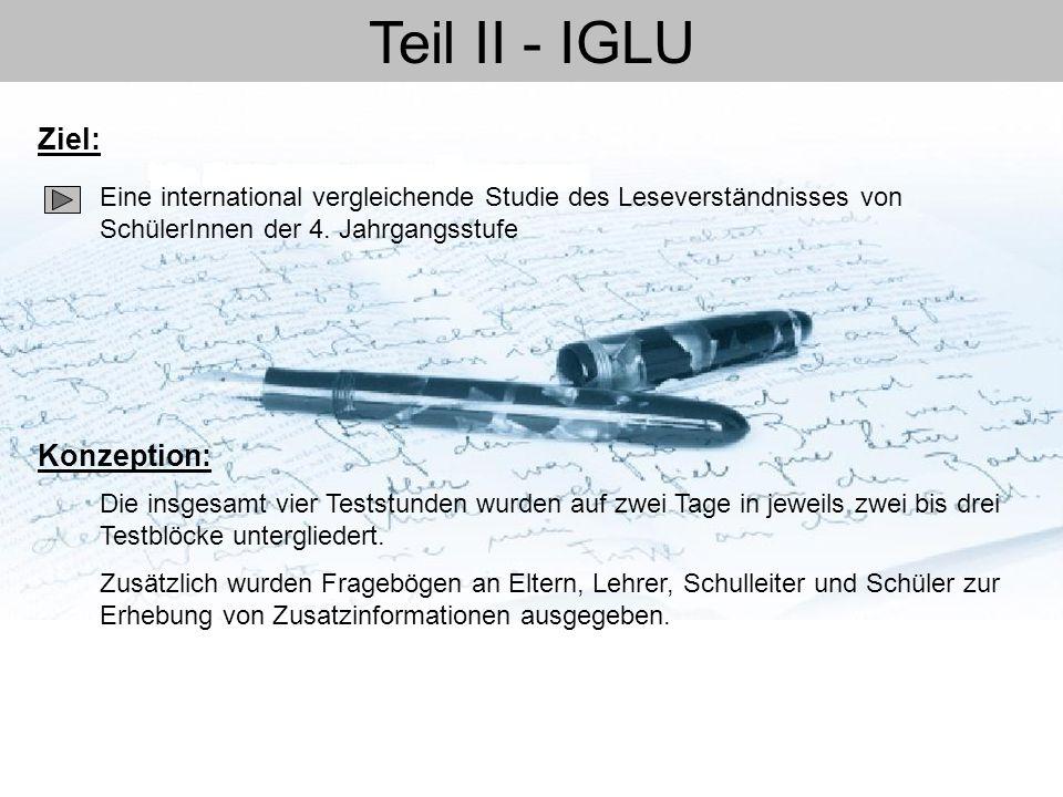 Teil II - IGLU Eine international vergleichende Studie des Leseverständnisses von SchülerInnen der 4. Jahrgangsstufe Ziel: Konzeption: Die insgesamt v