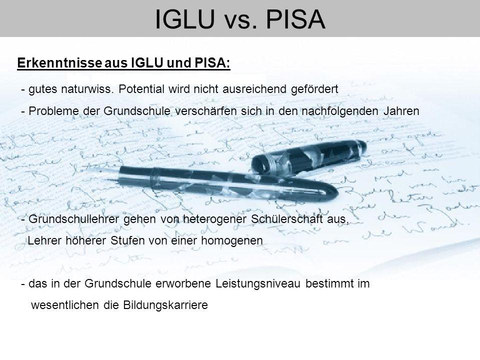 IGLU vs. PISA - gutes naturwiss. Potential wird nicht ausreichend gefördert - Probleme der Grundschule verschärfen sich in den nachfolgenden Jahren -
