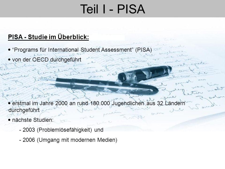 """Teil I - PISA  """"Programs für International Student Assessment"""" (PISA)  von der OECD durchgeführt  erstmal im Jahre 2000 an rund 180.000 Jugendliche"""