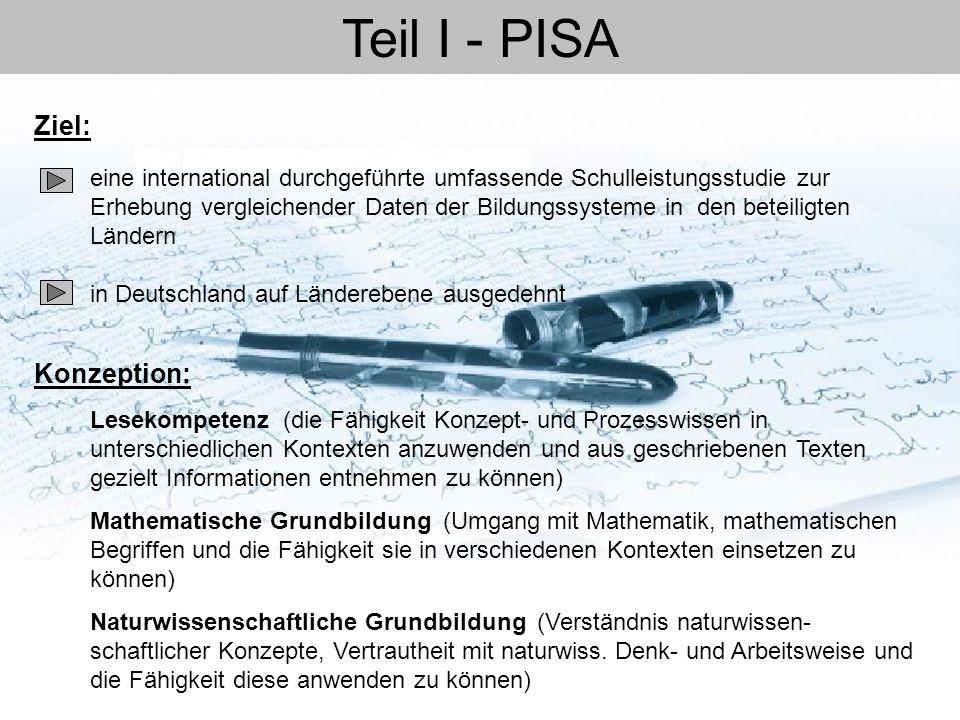 Teil I - PISA eine international durchgeführte umfassende Schulleistungsstudie zur Erhebung vergleichender Daten der Bildungssysteme in den beteiligte