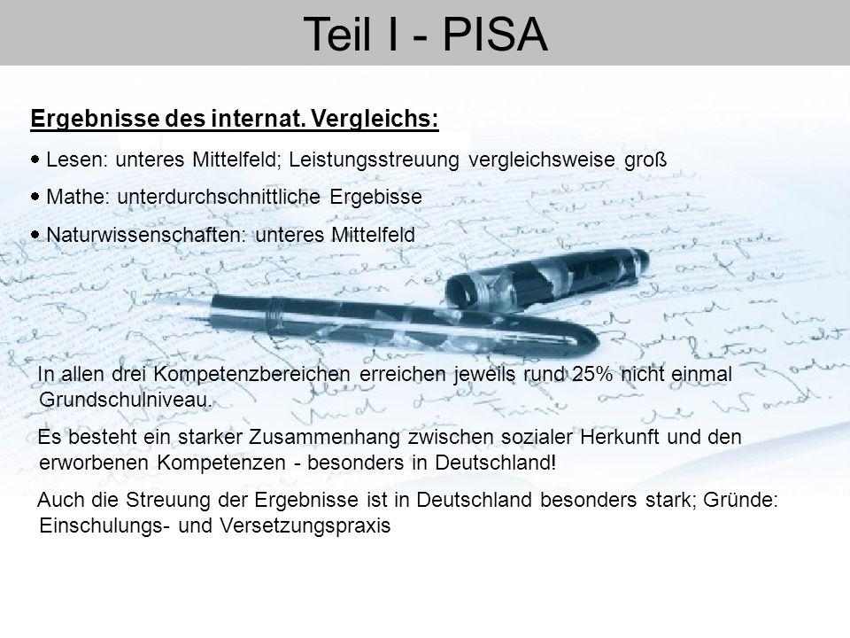 Teil I - PISA  Lesen: unteres Mittelfeld; Leistungsstreuung vergleichsweise groß  Mathe: unterdurchschnittliche Ergebisse  Naturwissenschaften: unt