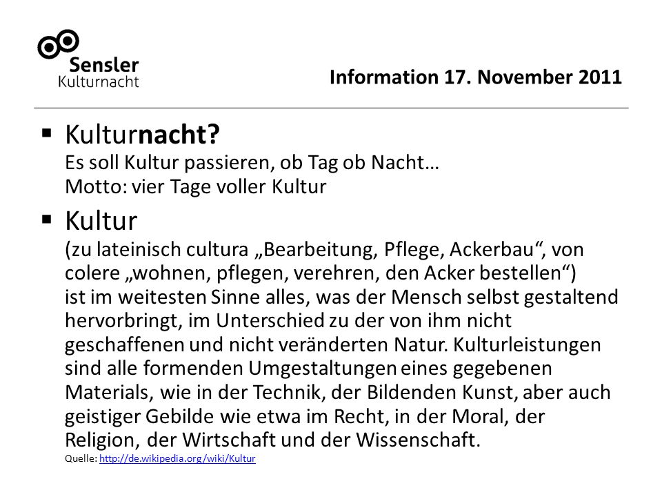 Information 17.November 2011  Kulturnacht.