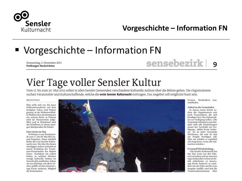 Vorgeschichte – Information FN  Vorgeschichte – Information FN