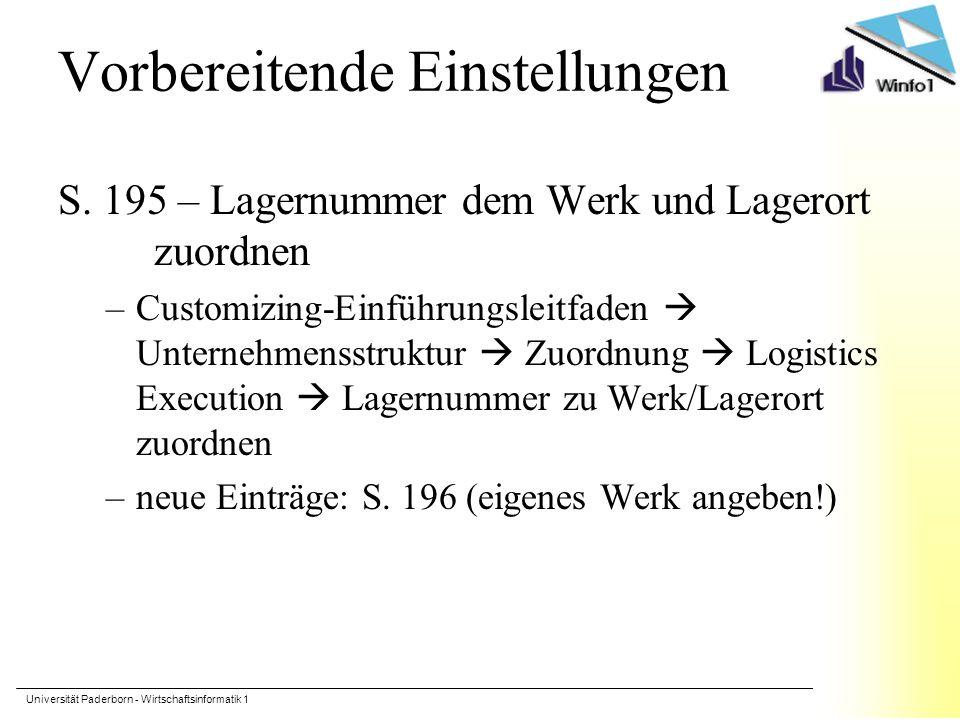 Universität Paderborn - Wirtschaftsinformatik 1 Vorbereitende Einstellungen S.