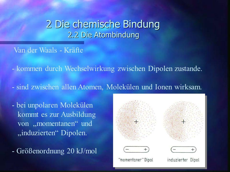 2 Die chemische Bindung 2.2 Die Atombindung Van der Waals - Kräfte - kommen durch Wechselwirkung zwischen Dipolen zustande. - sind zwischen allen Atom