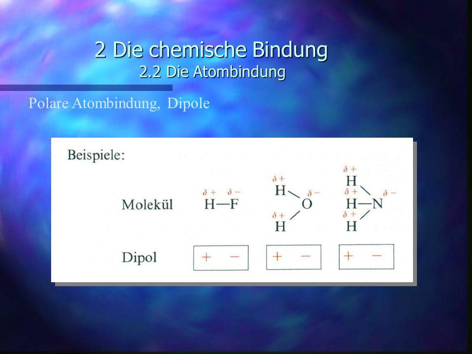 2 Die chemische Bindung 2.2 Die Atombindung Polare Atombindung, Dipole
