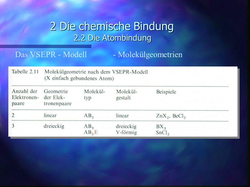 2 Die chemische Bindung 2.2 Die Atombindung Das VSEPR - Modell - Molekülgeometrien